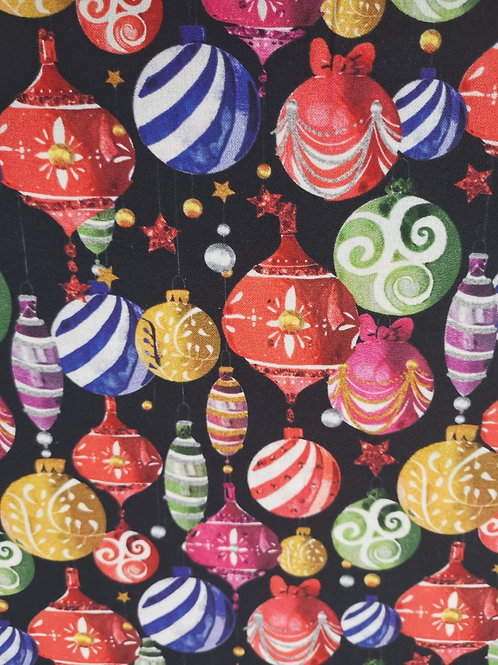 100% Cotton - Christmas Bauble Print -  Black And Multi