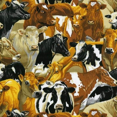 Quilting Cotton - Nutex - In The Country - 89310 - 106 - The Herd (Cow Print)