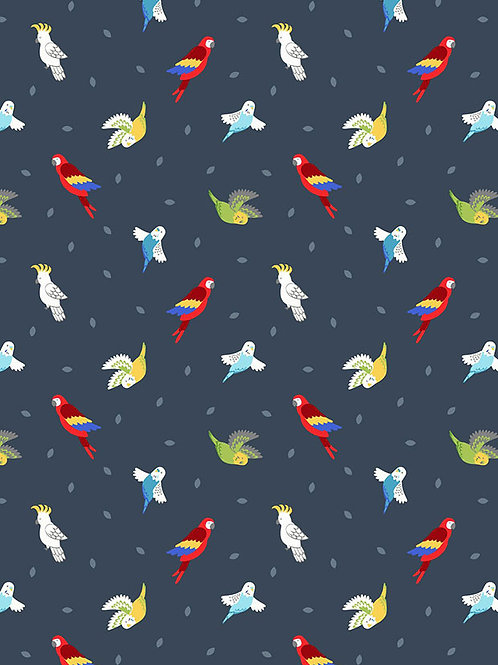 Lewis  And Irene - Small Things Pets - Birds on Dark Blue - SM29.3