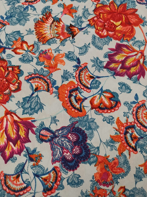 Dress Fabric -  Polyester - Floral Print - Sky Blue And Multi