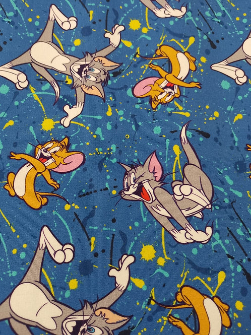 French Terry Brushed Back Cotton Lycra - Tom And Jerry Print