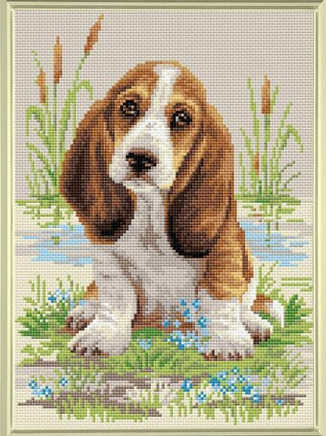 Diamond Mosaic - Riolis Collection - Bassett Hound Puppy
