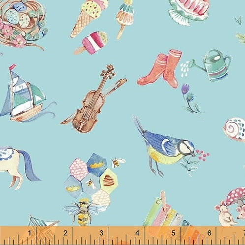 Windham Fabrics - Clare Therese - My Imagination - 511612 - Pale Blue