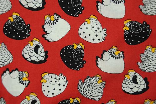 Quilting Cotton - Nutex - Bright Happy Hens - 86800 - 101 - Red Chicken Print