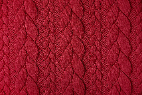 Dress Fabric - Cable Knit Jacquard Fabric - Red