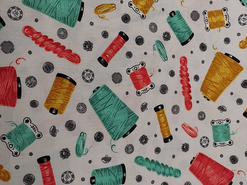 Sewing with charm robert kaufmann - thread spool  Print - White And Multi
