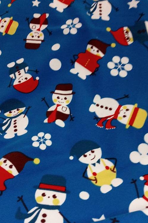 Lillestoff - Organic Cotton Jersey - Snowman Print - Blue