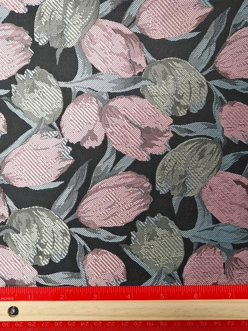 Dress Fabrics -  Woven Brocade - Grey And Pink Floral  - 100/143