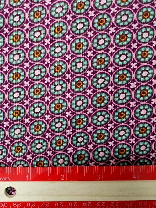 Dress Fabrics - Fine Needlecord Cotton - Magenta and Mint Print - 100/130