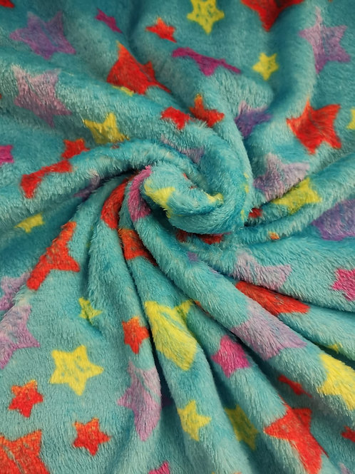 Dress Fabric - Cuddle Fleece - Star Print - Green And Multi