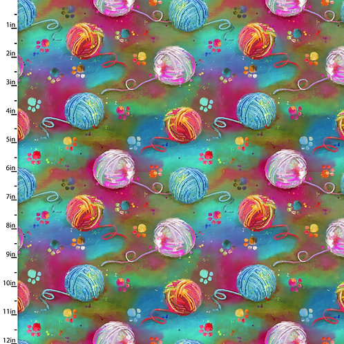 Quilting Cotton - Ball of Wool Print  - Green And Multi