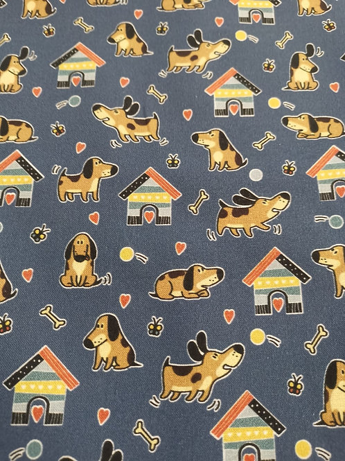 Quilting Cotton - Dog And Kennel Print - Multi