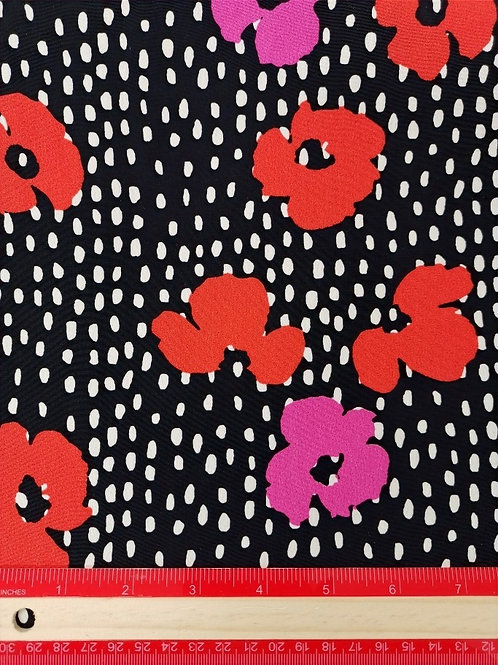 Dress Fabrics -  Polyester Crepe - Black And Floral - 100/134