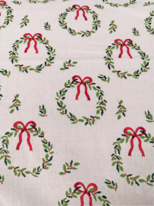 Quilting Cotton - Holly Wreath - Ivory And Multi - Christmas