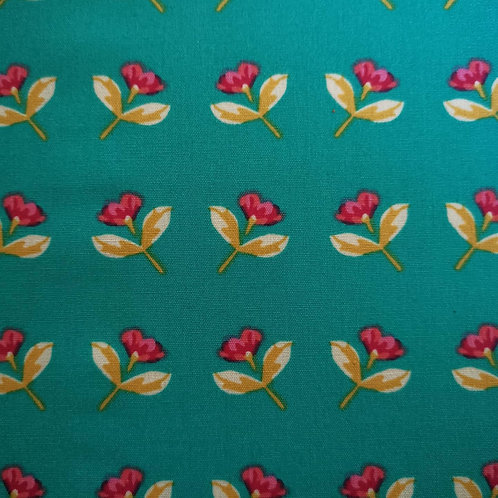 Quilting Cotton - Art Gallery Fabrics - Floral Print - Turquoise Green And Multi