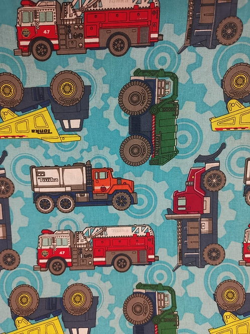 Quilting Cotton - Vehicle Print - Blue And Multi