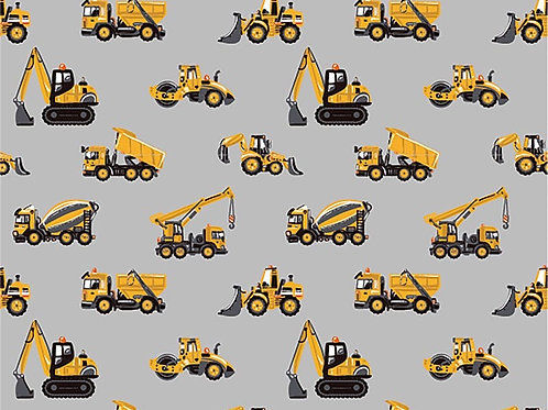 Cotton Jersey - digger lorry loader Print - Pale Grey And Multi
