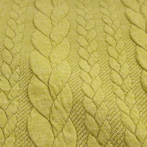 Lime Green - Cable Knit Jacquard Fabric - Lime Green