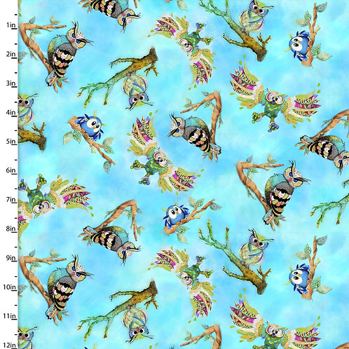Quilting Cotton - Owl Print  - Blue And Multi
