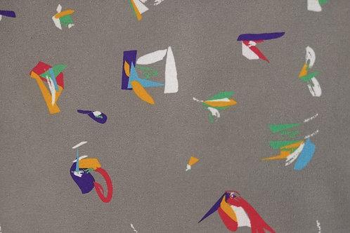 Softshell Fleece - Abstract Print - Grey And Multi