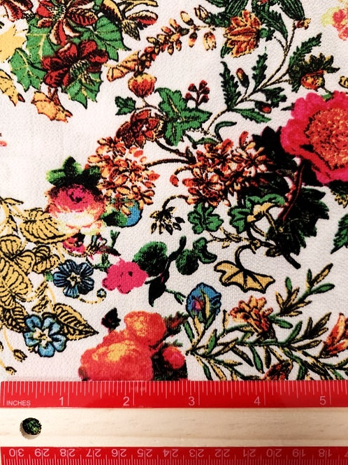 Dress Fabrics - Polyester Crepe - Ivory And Red Floral - OC 100/157