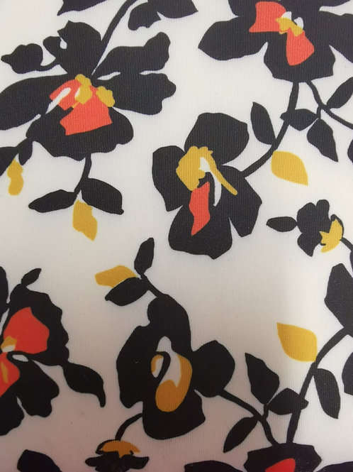 Dress Fabric- Micro Scuba - White, Navy And Multi
