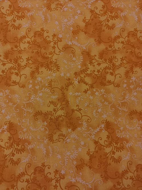 Quilting Cotton - Vine Leaf Print - Orange