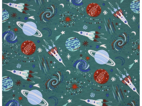 Cotton Jersey - Planet Print  - Dark Green And Multi