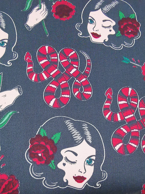 Dress Fabrics - Stretch Cotton - Lady And Rose Print - Grey And Red