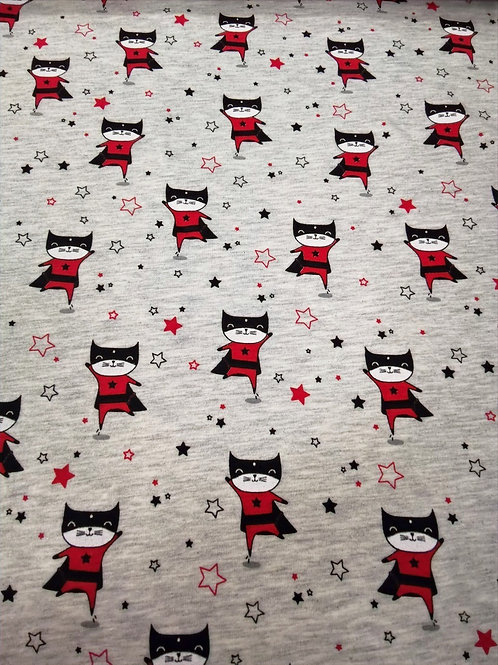 Cotton Jersey - Super Hero Cat Print - Pale Grey Black And Red