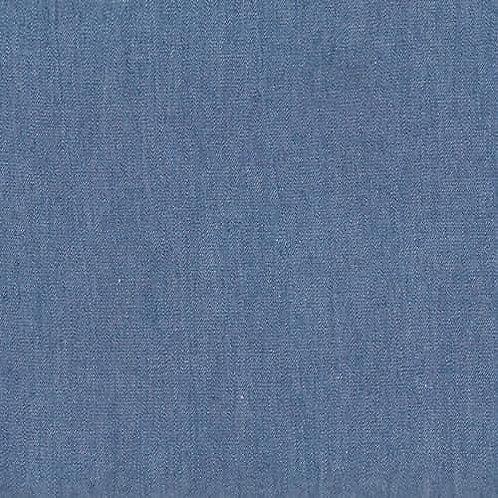 Dress Fabric - 100% Cotton Chambray - Mid Blue