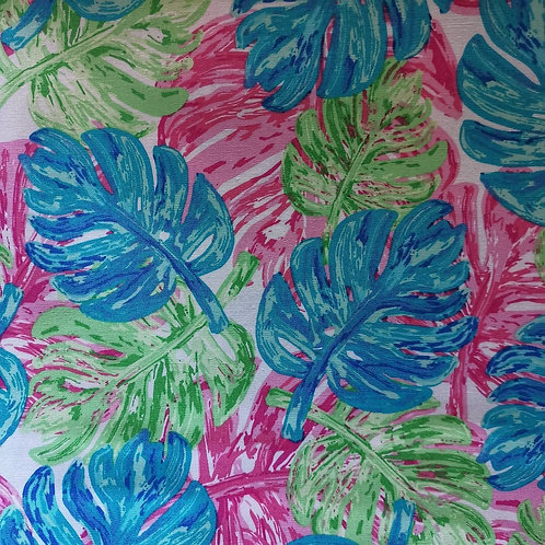 Quilting Cotton - Art Gallery Fabrics - Leaf Print - Blue, Green And Pink