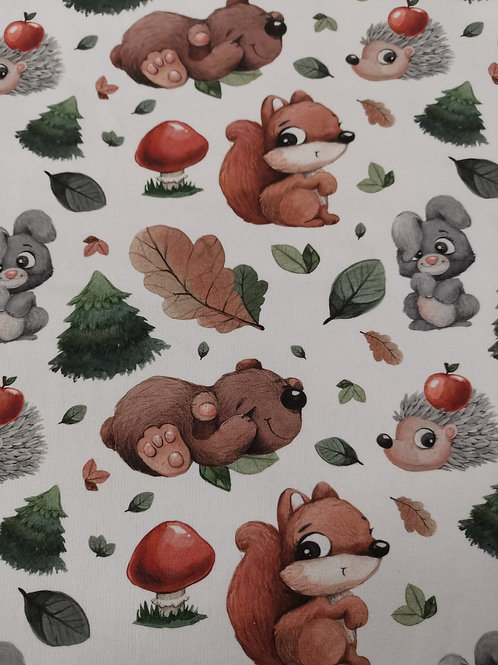 French Terry Loop Back Fabric - Woodland Animal Print