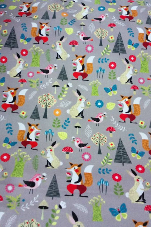 Quilting Cotton - Nutex - Fox and Rabbit Print - Pale Grey And Multi