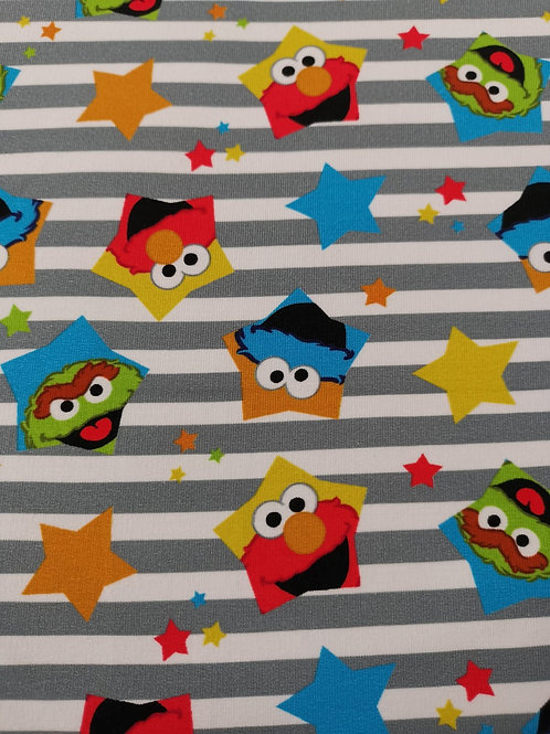 French Terry Brushed Back Cotton Lycra - Sesame Street Print