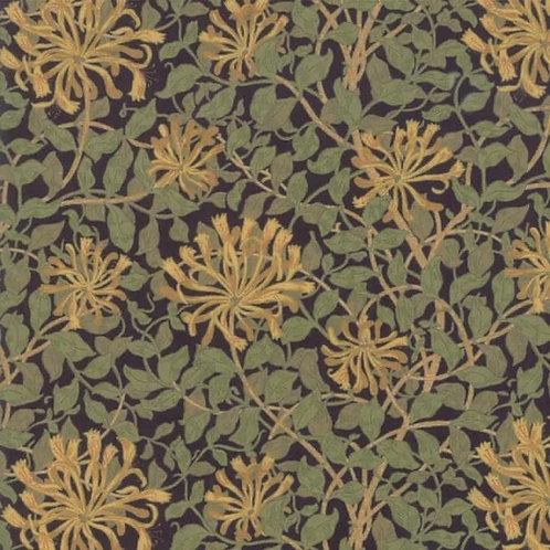 Moda - Quilting Cotton - May Morris Studio - Honeysuckle - Navy And Multi - 7347