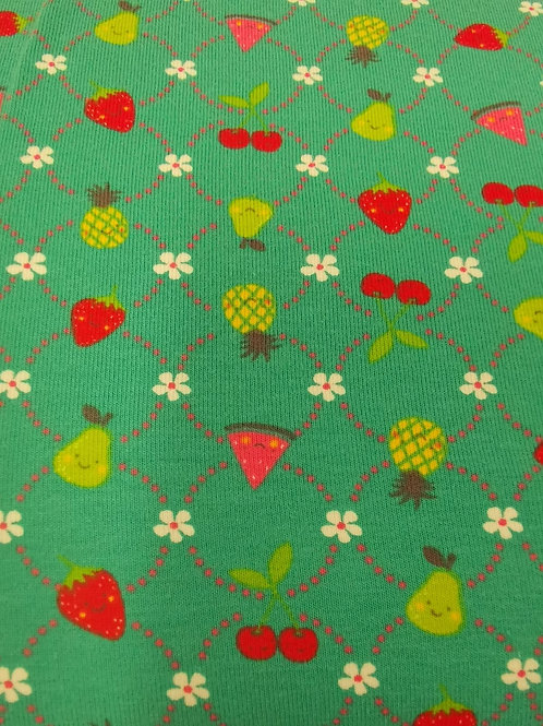 Cotton Jersey  - Strawberry Print - Green And Multi
