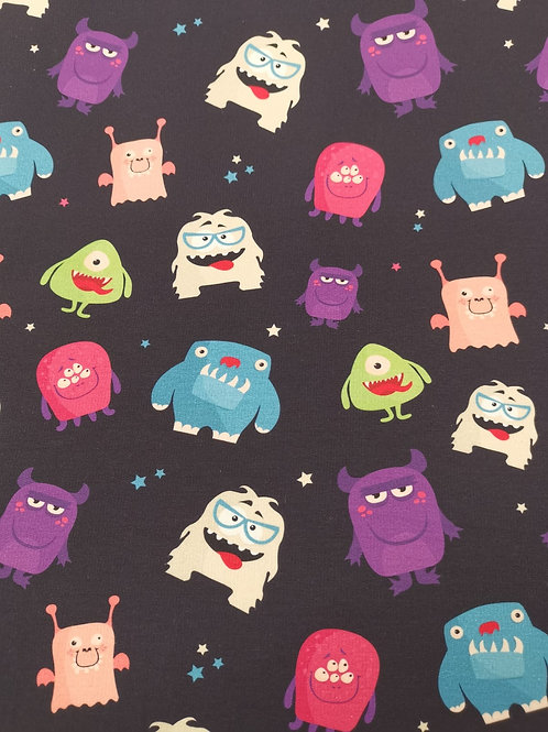 French Terry Loop Back Fabric - Monster Print