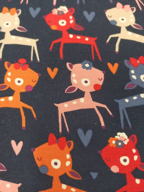 Cotton Jersey  - Deer Print - Navy Blue And Multi