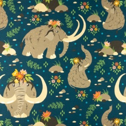 Cotton Jersey - Mammoth Print - Navy Blue And Multi