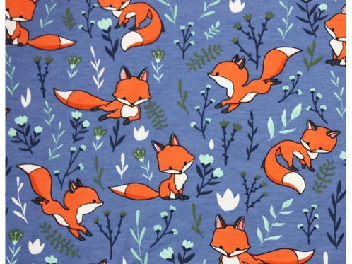 Cotton Jersey - Fox Print  - Blue And Multi