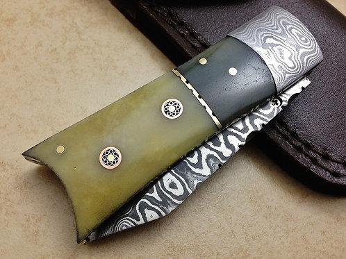 Damascus Folding Knife Camel Bone- 7772