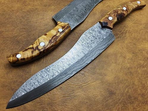 Damascus Kitchen Knife Burl Wood-8861