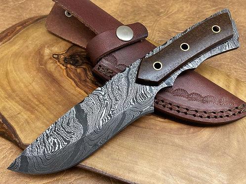 Damascus Steel Hunting Knife Full Tang H12