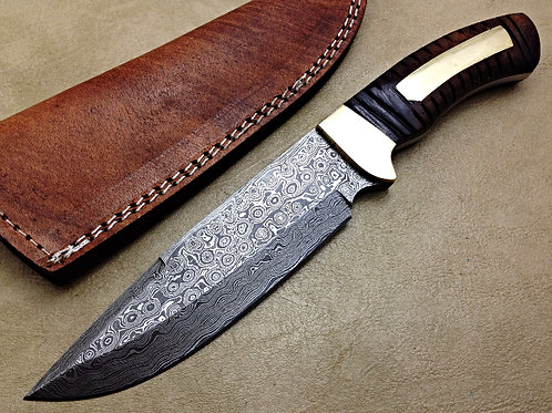 Damascus Hunting Knife Raindrop Pattern- 7564