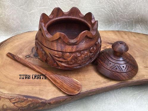 Hand Carved Sugar Pot SP1