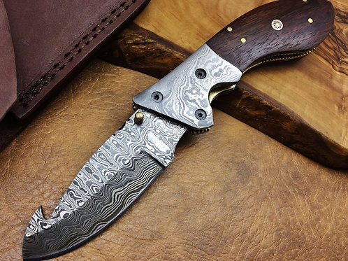 Titan's Damascus Folding Knife-2123