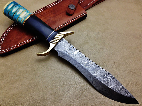 XXL Damascus Hunting Knife Bowie-7594