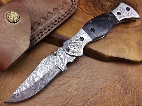 Damascus Folding Knife-F5-BLK