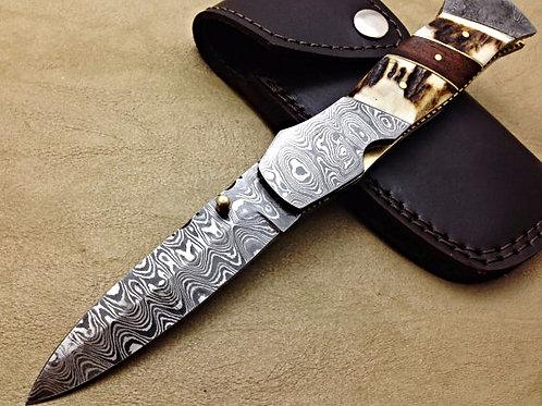 Damascus Folding Knife Deer Stag Linner Lock-5742